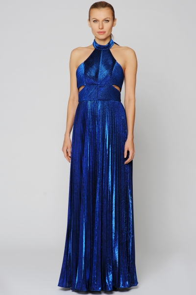 JOANA DANCIU Abendkleid Metallic-Optik Style KATE Farbe blau